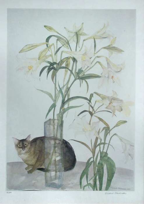 Abyssinian Cat and Lilies