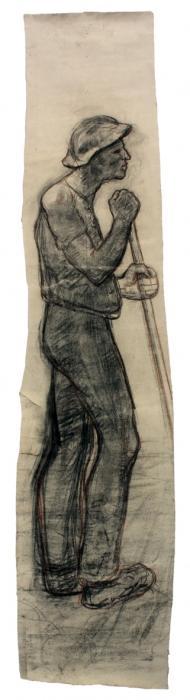 Field Worker Holding a Stave