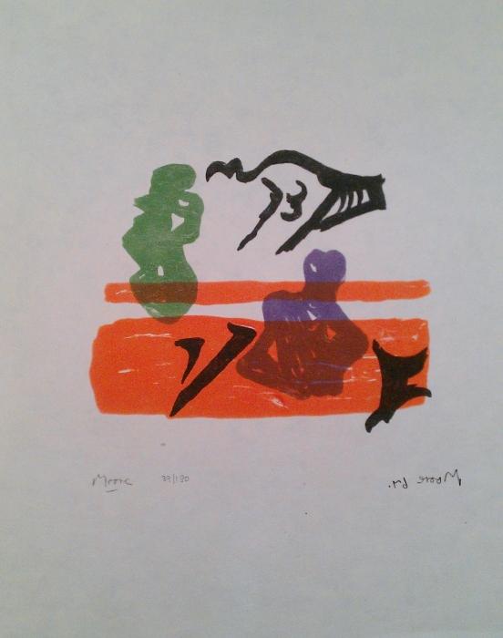 Violet Torso on Orange Stripes (Shelter Sketchbook