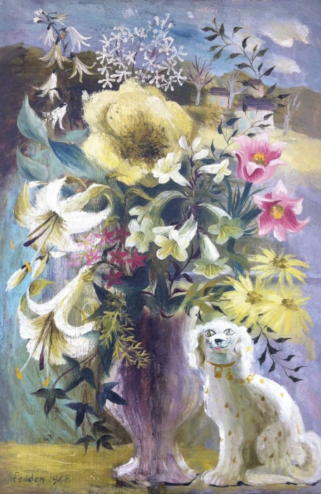 Study of a Vase of Flowers with a Staffordshire Po