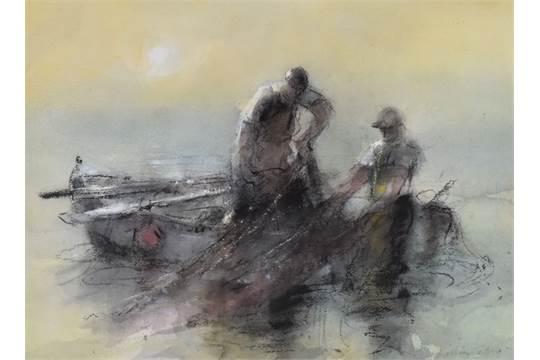 Two fishermen  hauling in the nets