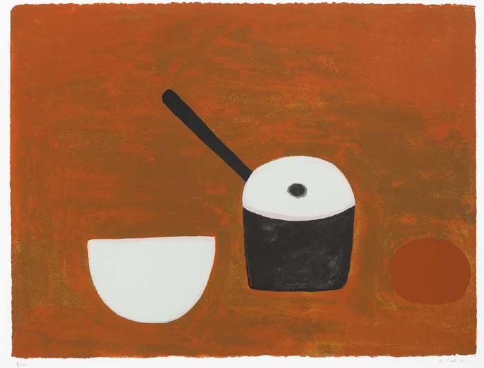 White Bowl ,Black Pan, on Brown